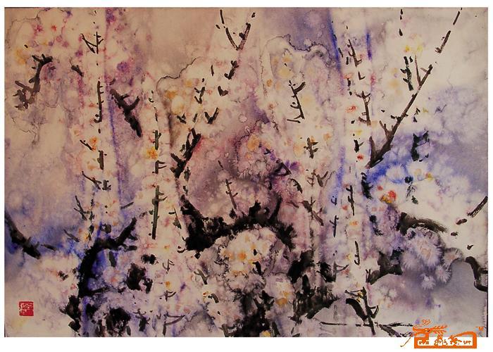 胡钜湛-水彩(梅花)2-淘宝-名人字画-中国书画交易