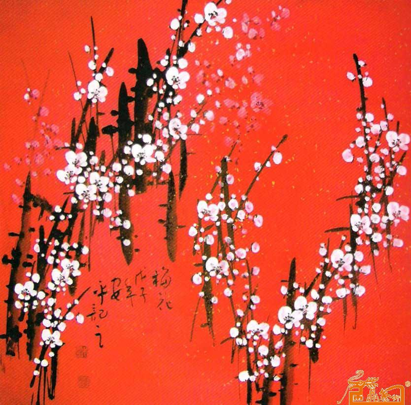 红色梅花背景素材