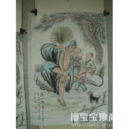 石成海 济公戏童 类别 国画人物作品