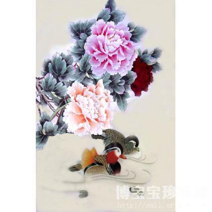 夏彩华 富贵牡丹鸳鸯图 类别: 国画花鸟作品