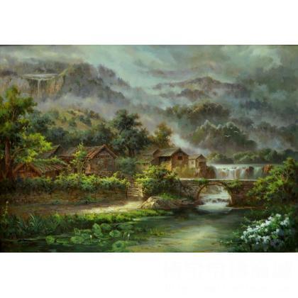 名家 涂建国 油画;当代艺术; - 涂建国 《雨后山村》 类别: 风景油画j