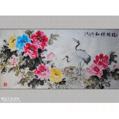 吴振中国画牡丹仙鹤 福瑞祥和 写意牡丹作品 类别: 写意牡丹