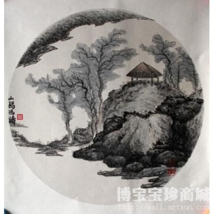 冯涛 团扇山水小品 类别: 国画山水作品