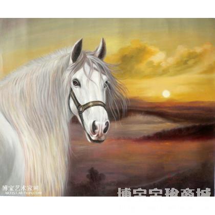 动物油画作品马系列-之晨曦