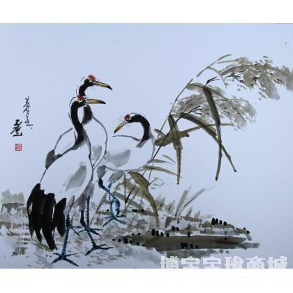 名家 李哲 书法 - 李哲《丹顶鹤》朝鲜国画_朝鲜画_朝鲜艺术_国画花鸟
