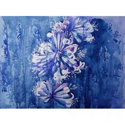 《蓝色的夜晚》 类别: 水粉画|水彩画