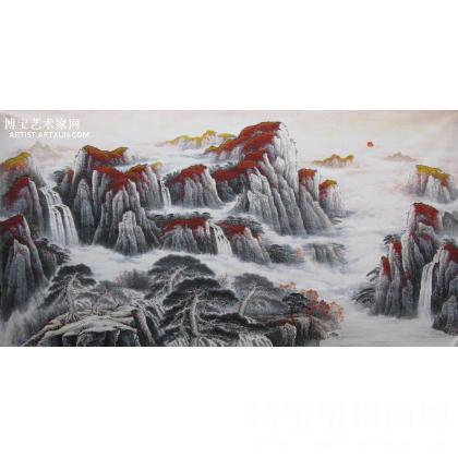 张福民国画山水作品《紫气东来》 山水画 类别: 国画山水作品