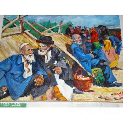 新疆,南疆农民巴扎天风景,画里面的肖像是维吾尔族农民,老农民在巴扎