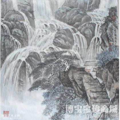 听泉合奏 山水画 李明作品 类别: 国画山水作品