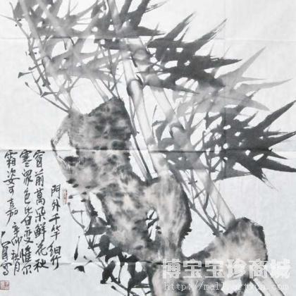 细竹子水墨画-白占国门外竹竿细竹 类别 国画花鸟作品