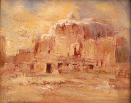 代表作品有《朔方系列》风景油画作品.