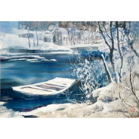 入选全国水彩,水粉画展,《雪树银花》,《水乡》,《山涧》,《三峡雨