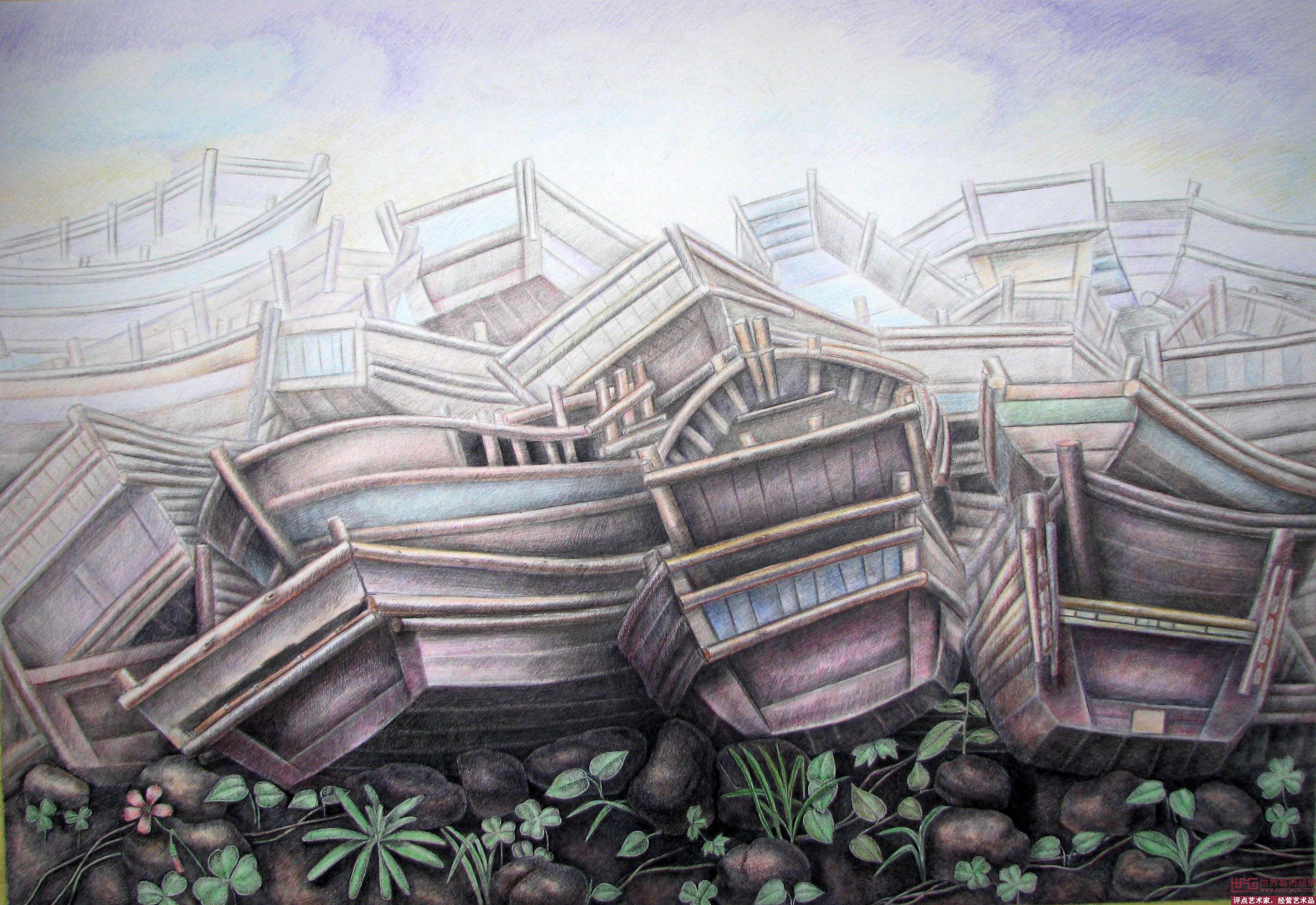 王亦挺-钢笔画《海边的风景》-淘宝-名人字画-中国,.