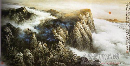 壁纸 风景 国画 旅游 瀑布 山水 桌面 500_254