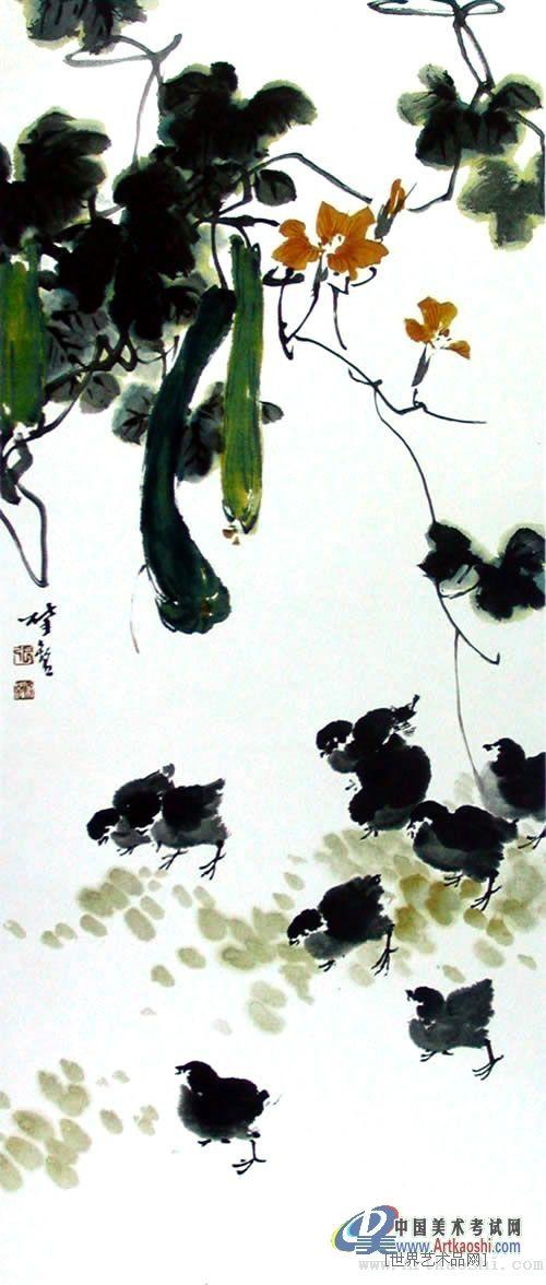张肇铭-丝瓜小鸡-淘宝-名人字画-中国书画交易中心,,.图片