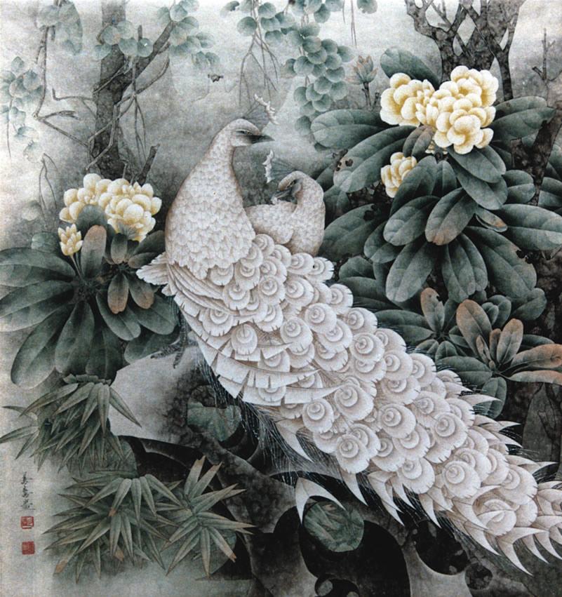 彭善喜-鸡旦花白孔雀-淘宝-名人字画-中国书画交易,,.